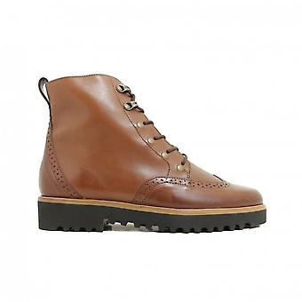 Paul Green 9644-03 Tan Leather Womens Lace/Zip Up Brogue Ankle Boots