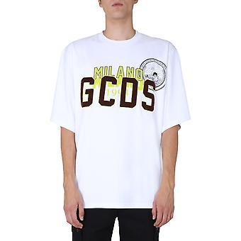 Gcds Fw21m02005801 Men's White Cotton T-shirt