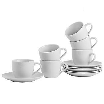 Argon Servies 12 Stuk White Tea Cup en Schotelset - Klassieke porseleinen cappuccinotheekopjes - 220ml