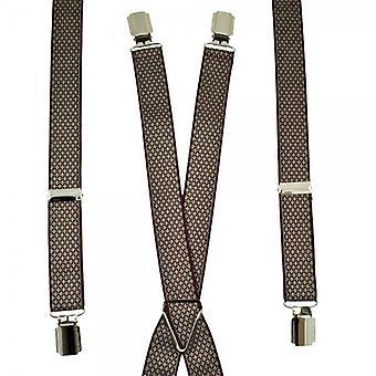 Cravatte Pianeta Borgogna & Beige Diamond Modello Skinny Trouser Braces