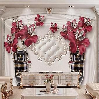 مخصص صور خلفية 3d الأوروبية نمط مجوهرات زهرة غرفة المعيشة غرفة غرفة خلفية الجدران (1 )