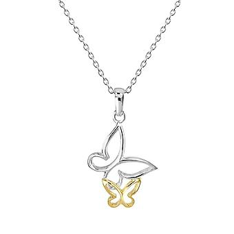 Dew Sterling Silver Double Butterfly Gold Plate Pendant 98076GD