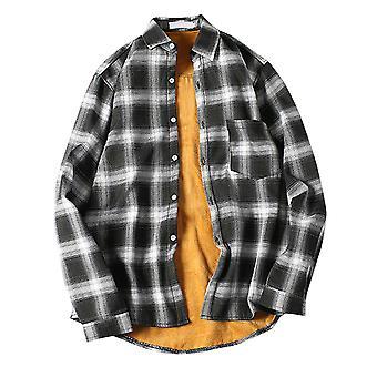 YANGFAN Men's Plush Plaid Thicken Autumn Winter Shirt