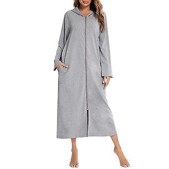 Дамская зимняя флисовая пижама длинное платье плюшевое, рыхлое и удобное пижамы одноцветного цвета