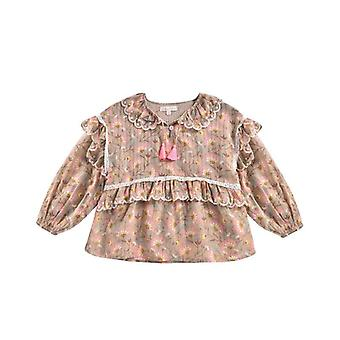 Shirts For, Beauty Flower Print, Long Sleeve Blouses Tops Set-2