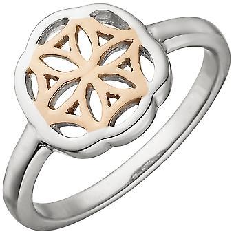 Kvinnors ring 925 sterling silver bicolor guldpläterad