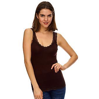 BASIC Top féminin avec dentelle extensible unique taille