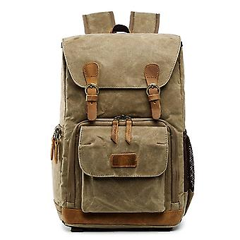 Batik Canvas Waterproof Photography Bag Outdoor Wear-resistant Large Camera Photo Backpack Men for Nikon / Canon / Sony / Fujifilm(Khaki)