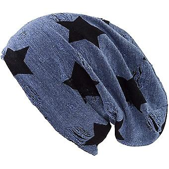 Shenky Blue Vernietigd Star Long Jersey Beanie Distressed