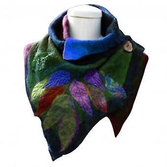 Vintage Scarf Women Autumn Winter Leaf Print Soft Wrap Irregular Button Warm