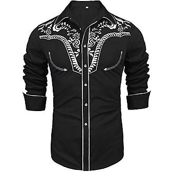 Men's Long Sleeve Embroidered Shirts, Slim Fit, Casual Button, Down Regular