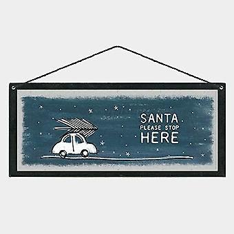 Oosten van India kerst hout plaque teken SANTA gelieve hier te stoppen