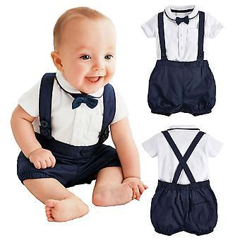 Baby Boys Romper macacão formal Bowtie Gentleman Outfit 2PCS Set Blue