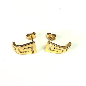 Sterling Silver 18 Karat Gold Overlay Greek Key Stud Earrings