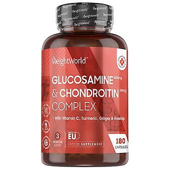 Glucosamine & Chondroitin - Natural Supplement for Joint Care - 180 Capsules