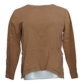 Isaac Mizrahi Live! Vrouwen>Top Essentials Crew Neck W/ Pcts Brown A387350