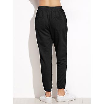 Black Elastic Waist Pocket Pants