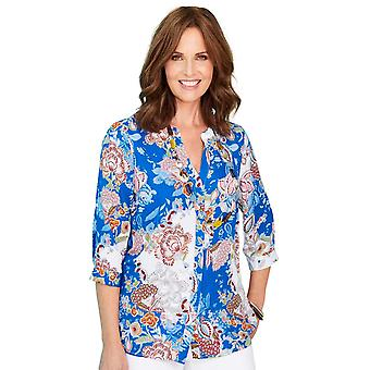 Chums Print Roll Up Sleeve Blouse