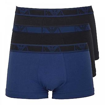 Emporio Armani Logo Stretch Cotton 3-Pack Trunk, Marine / Gentian / Marine, X-Large
