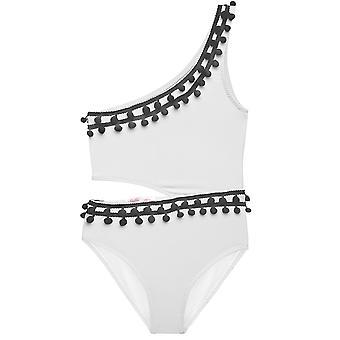 Weiße Side-cut Badeanzug mit schwarzen Pom Poms