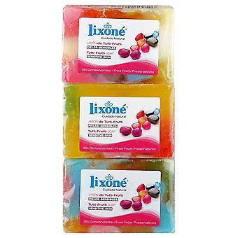 Lixoné Vegetable Glycerin Soap All Fruits 125 gr 3 units