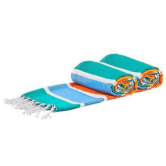 2x Asciugamani da bagno in cotone turco Spiaggia Peshtemal Fouta 157 x 87cm Multicolor