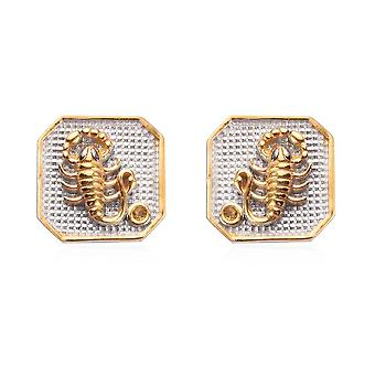 TJC Citrine Solitaire Stud Earrings Sterling Silver Birthday Gift 0.02ct