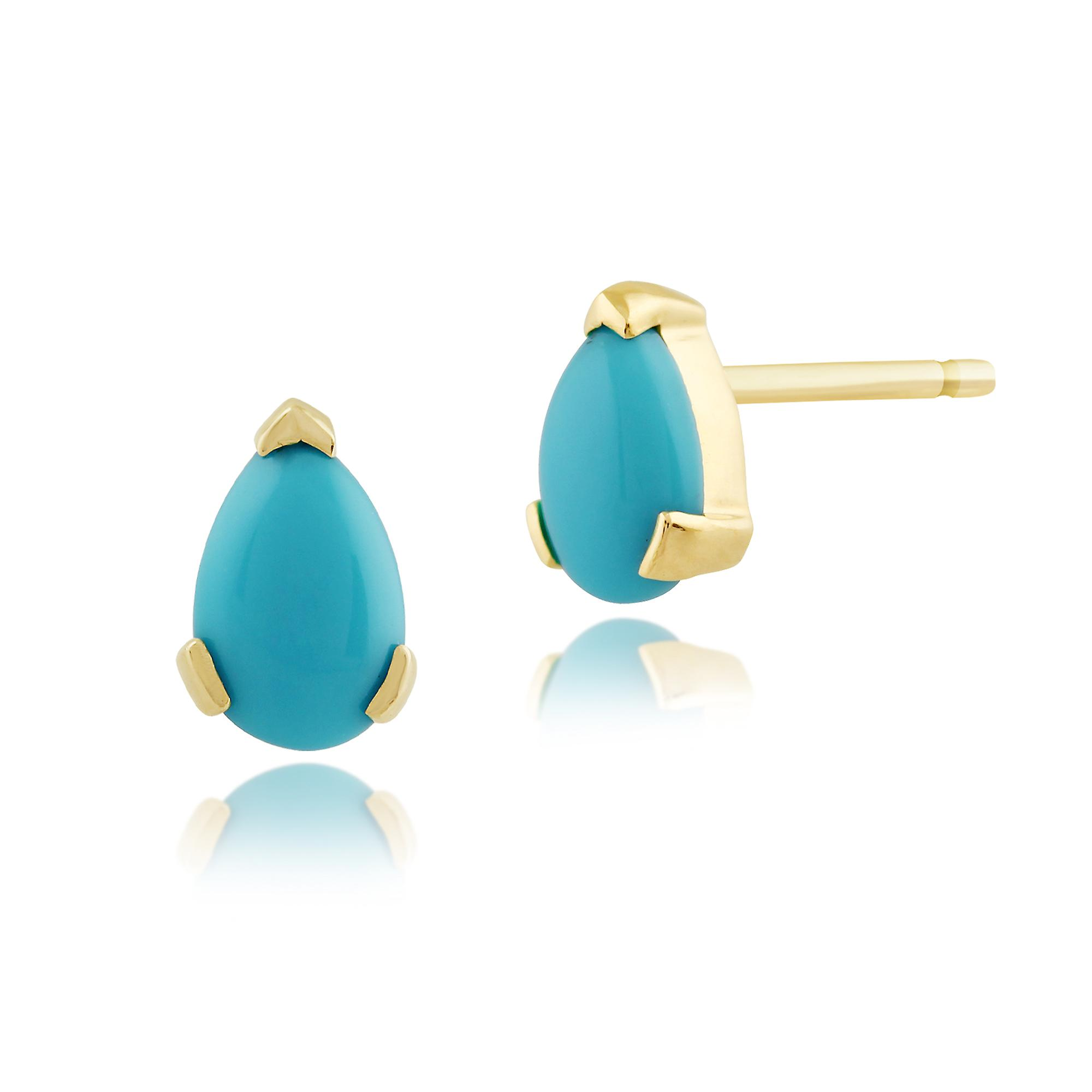 Gemondo 9ct Yellow Gold 0.62ct Pear Turquoise Stud Earrings
