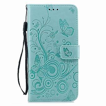 iPhone 5S/SE用バタフライモチーフのフォリオレザーケース - グリーン