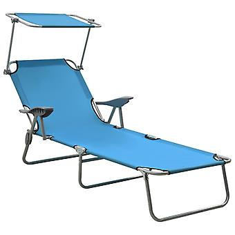 vidaXL sunbed with sunscreen steel blue