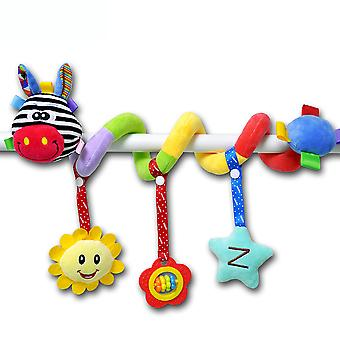Cartoon Animals Pram Crib Toy With Bb Device Teether Sound Paper Bell Lovely Baby Spiral Toy Plush Activity Spiral