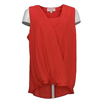 Laurie Felt Women's Top Sleeveless Wrap Blouse Red A352556