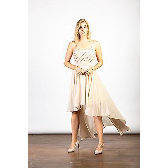 Luvforever nude sequin asymmetric long dress