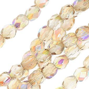 Vetro lucido antincendio ceco, perline rotonde sfaccettate 4mm, 40 pezzi, arcobaleno di limone di cristallo