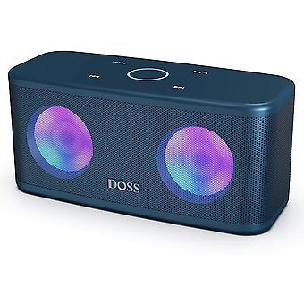 Haut-parleur Bluetooth DOSS, Haut-parleur sans fil, Contrôle tactile, Son HD et basse puissante, Mains libres, Temps de jeu de 20 heures, Haut-parleurs pour téléphone, tablette et télévision (bleu)