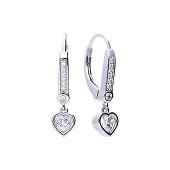 Diamonfire Womens 925 Sterling Silver Rhodium, Palladium & Platinum Plated Clear Cubic Zirconia Pave Set Heart Charm Hoop Örhängen