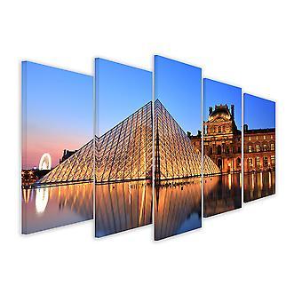 Tableau 5 parties Tableau photo pyramide du louvre - 150x80 cm