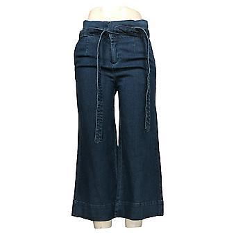 Du Jour Women's Pants Paper Bag Waist Denim Culotte Crop Blue A347557