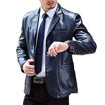 Yunyun Men's Three-button Solid Color Leather Suit