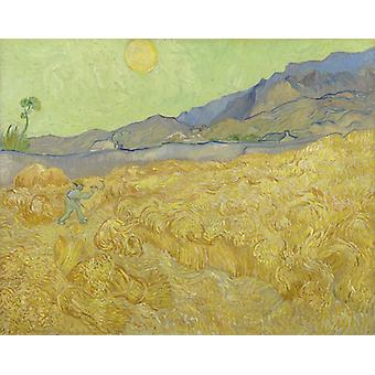 Wheat Field With Reaper,vincent Van Gogh Art Reproduction.impressionism Modern Hd Art Print Poster,canvas Prints Wall Art For Home Decor Pictures