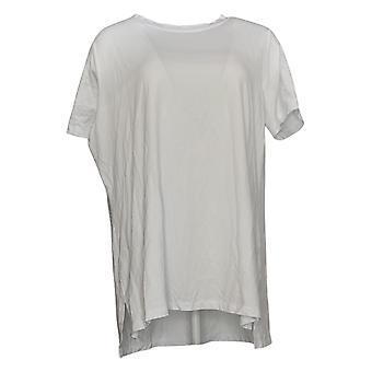 Isaac Mizrahi Live! Damen Plus Top Rundhalsausschnitt Hi-Low Hem Weiß A392617