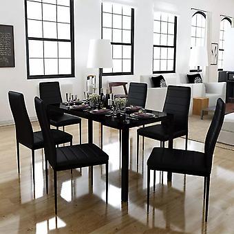 vidaXL 7 יח'. שולחן אוכל מוגדר שחור