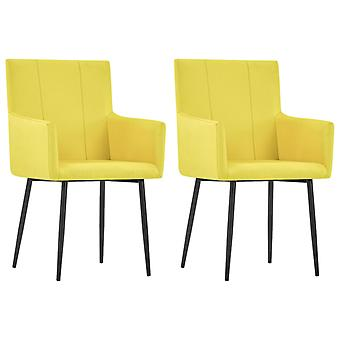 vidaXL dining chairs with armrests 2 pcs. yellow fabric