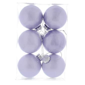 6 Lilac 8cm Shatterproof julgran Bauble Dekorationer