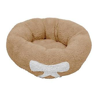 Pet Dog Cat Calming Bed  Soft Plush Round Brown for Cats & Small Dogs