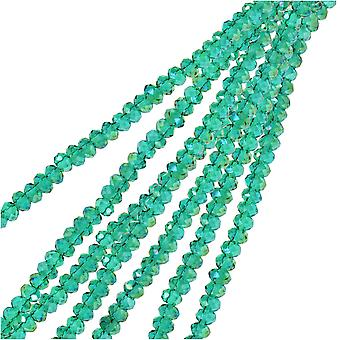 Crystal Beads, Faceted Rondelle 1.5x2.5mm, 2 Strands, Transparent Dark Green AB