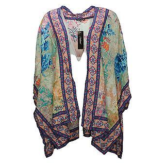 Tolani Collection Women's Plus Top Regular Print Woven Kimono Orange A373844