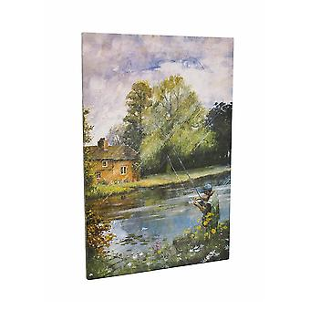 Fly Fishing on the River Printed Canvas 36 in. X 24 in.