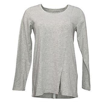 Modern Soul Women's Top Long Sleeve Front Slit Scoop Neck Gray 681481