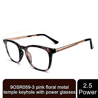 Storm Unisex Leightweight Pink Floral Metal Comfortable Spring Hinge +2.5 Power Glasses